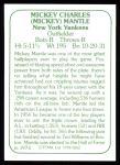 1978 TCMA The 60's #262  Mickey Mantle  Back Thumbnail