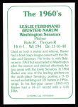 1978 TCMA The 60's #44  Buster Narum  Back Thumbnail