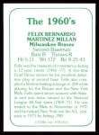 1978 TCMA The 60's #31  Felix Millan  Back Thumbnail