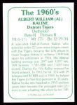 1978 TCMA The 60's #40  Al Kaline  Back Thumbnail