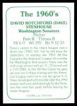 1978 TCMA The 60's #141  Dave Stenhouse  Back Thumbnail