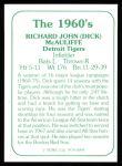 1978 TCMA The 60's #94  Dick McAuliffe  Back Thumbnail