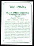 1978 TCMA The 60's #116  Frank Kreutzer  Back Thumbnail