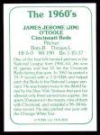 1978 TCMA The 60's #92  Jim O'Toole  Back Thumbnail