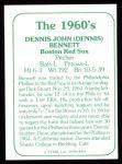1978 TCMA The 60's #93  Dennis Bennett  Back Thumbnail