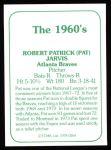 1978 TCMA The 60's #264  Pat Jarvis  Back Thumbnail
