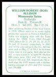 1978 TCMA The 60's #26  Bob Allison  Back Thumbnail