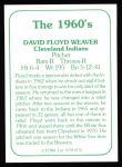 1978 TCMA The 60's #176  Floyd Weaver  Back Thumbnail