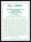 1978 TCMA The 60's #171  Al Spangler  Back Thumbnail