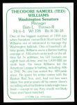 1978 TCMA The 60's #260  Ted Williams  Back Thumbnail