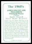 1978 TCMA The 60's #91  Jim Pagliaroni  Back Thumbnail