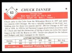 1979 TCMA The 50's #63  Chuck Tanner  Back Thumbnail