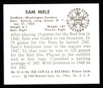 1950 Bowman REPRINT #52  Sam Mele  Back Thumbnail