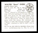 1950 Bowman REPRINT #41  Hoot Evers  Back Thumbnail