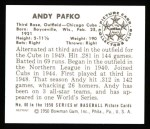 1950 Bowman REPRINT #60  Andy Pafko  Back Thumbnail