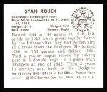 1950 Bowman REPRINT #86  Stan Rojek  Back Thumbnail