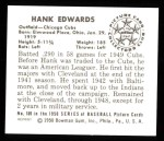 1950 Bowman REPRINT #169  Hank Edwards  Back Thumbnail