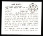 1950 Bowman REPRINT #12  Joe Page  Back Thumbnail