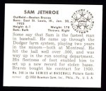 1950 Bowman REPRINT #248  Sam Jethroe  Back Thumbnail