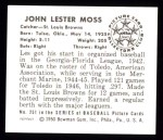1950 Bowman REPRINT #251  Les Moss  Back Thumbnail