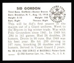 1950 Bowman REPRINT #109  Sid Gordon  Back Thumbnail