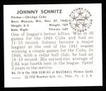 1950 Bowman REPRINT #24  Johnny Schmitz  Back Thumbnail