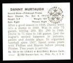 1950 Bowman REPRINT #203  Danny Murtaugh  Back Thumbnail