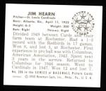1950 Bowman REPRINT #208  Jim Hearn  Back Thumbnail