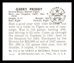 1950 Bowman REPRINT #212  Jerry Priddy  Back Thumbnail