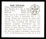 1950 Bowman REPRINT #182  Sam Zoldak  Back Thumbnail