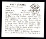 1950 Bowman REPRINT #252  Billy DeMars  Back Thumbnail