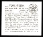 1950 Bowman REPRINT #206  Stan Lopata  Back Thumbnail