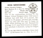 1950 Bowman REPRINT #23  Don Newcombe  Back Thumbnail