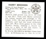 1950 Bowman REPRINT #90  Harry Brecheen  Back Thumbnail
