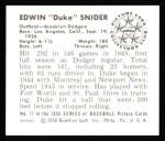 1950 Bowman REPRINT #77  Duke Snider  Back Thumbnail