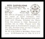 1950 Bowman REPRINT #201  Pete Castiglione  Back Thumbnail