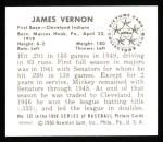1950 Bowman REPRINT #132  Mickey Vernon  Back Thumbnail