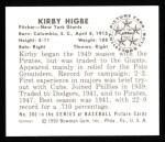 1950 Bowman REPRINT #200  Kirby Higbe  Back Thumbnail