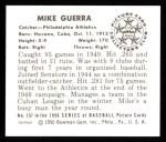 1950 Bowman REPRINT #157  Mike Guerra  Back Thumbnail
