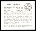 1950 Bowman REPRINT #66  Larry Jansen  Back Thumbnail