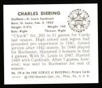 1950 Bowman REPRINT #179  Chuck Diering  Back Thumbnail