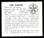 1950 Bowman REPRINT #51  Ned Garver  Back Thumbnail