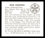 1950 Bowman REPRINT #70  Bob Chesnes  Back Thumbnail