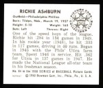 1950 Bowman REPRINT #84  Richie Ashburn  Back Thumbnail