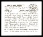 1950 Bowman REPRINT #181  Marino Pieretti  Back Thumbnail