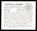 1950 Bowman REPRINT #204  Granny Hamner  Back Thumbnail