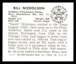1950 Bowman REPRINT #228  Bill Nicholson  Back Thumbnail