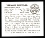 1950 Bowman REPRINT #57  Vern Bickford  Back Thumbnail