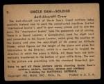 1941 Gum Inc. Uncle Sam Home Defense #9   Anti-Aircraft Crew Back Thumbnail