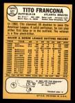 1968 Topps #527  Tito Francona  Back Thumbnail